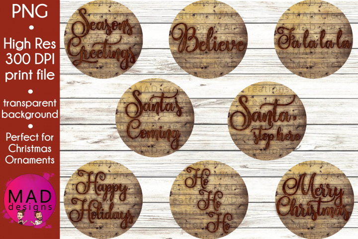 Bundle - Rustic Wood Slice Christmas Ornament