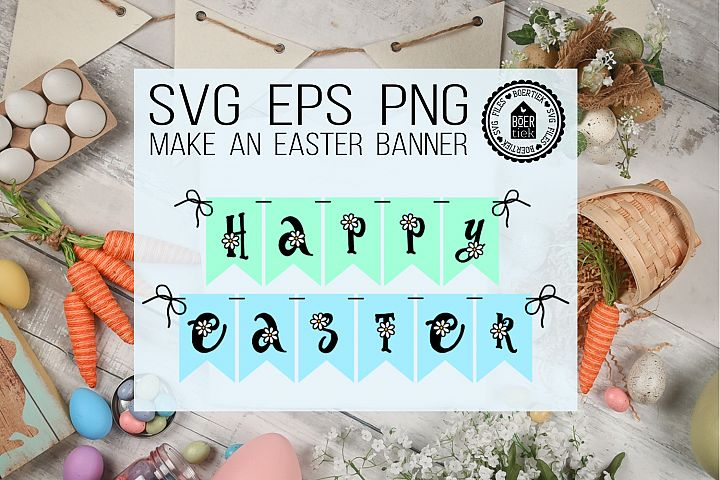 Happy easter party flag, make an easter banner