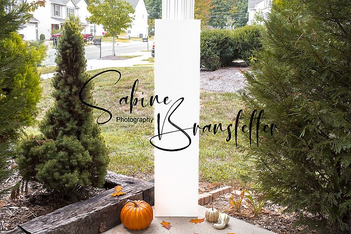 Styled Stock Photo 12inx4ft White Porch Sign Fall Mockup
