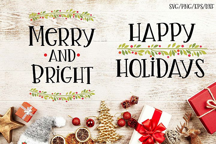 Happy Holidays Set of 2 Christmas SVGs