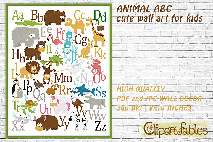 English ANIMAL alphabet, Animal ABC, Wall decor for kids