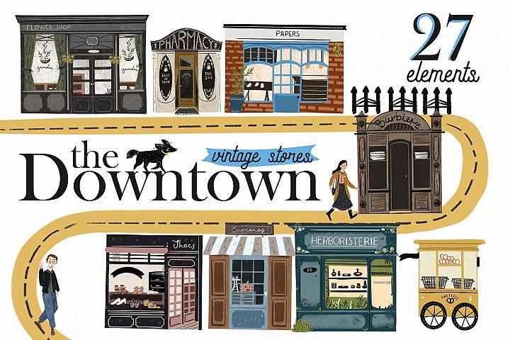 The Downtown vintage stores clip art