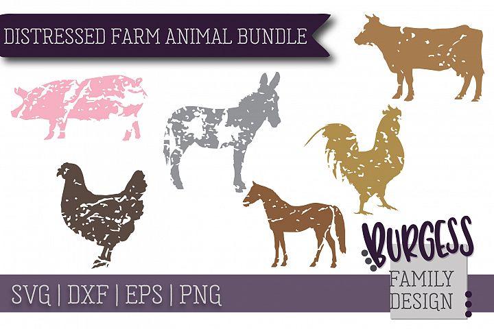 Distressed farm animal bundle | SVG DXF EPS PNG