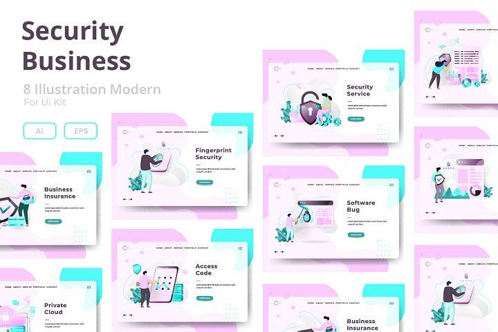 Security Business sets Illustration