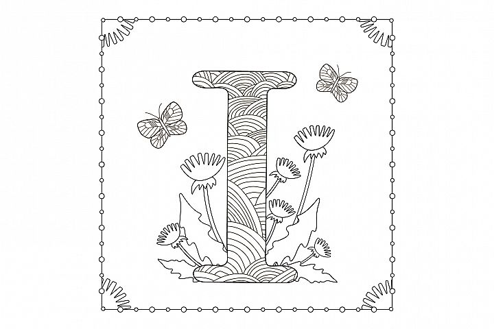 Letter i. Flowers. Coloring page.