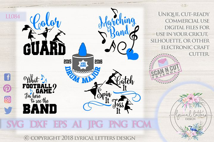 Marching Band Bundle of 5 SVG DXF Cut Files LL084