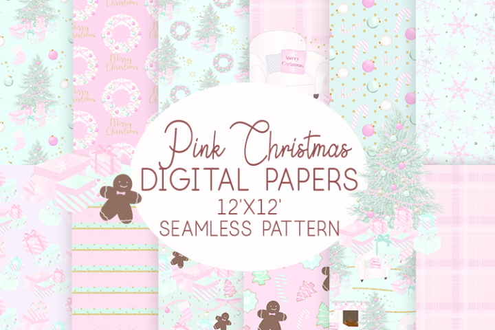 Pink Christmas Digital Paper Seamless Patterns