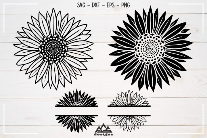 Sun Flower & Sun Flower Split Frame Svg Design
