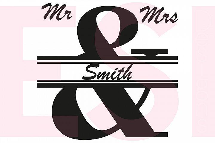 Mr & Mrs Split Ampersand Monogram Design
