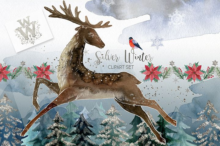 Silver winter Christmas watercolor clipart with reindeer