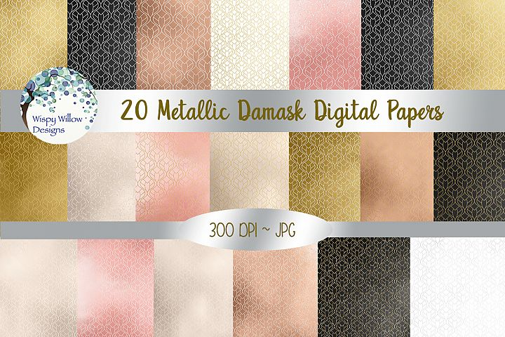 Metallic Damask Digital Paper Set