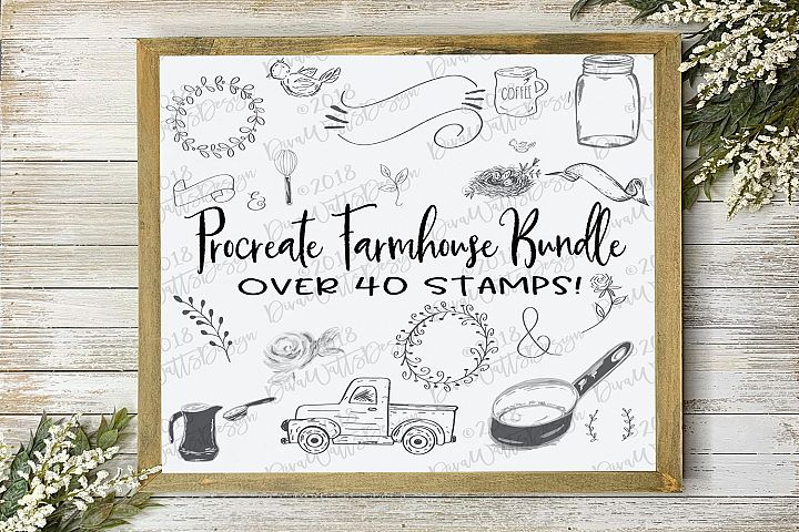 Procreate Farmhouse Stamps Collection Over 40 Stamps