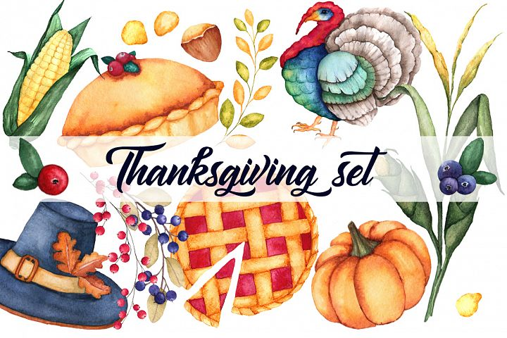 Watercolor Thanksgiving set