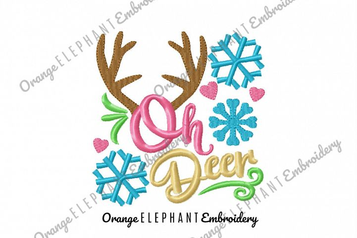 Oh Deer Unique Urban Machine Embroidery Design digital File