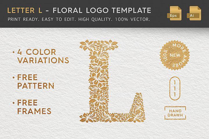 Letter L - Floral Logo Template