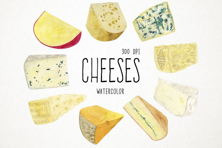 Watercolor Cheeses Clipart, Cheeses Clip Art, Cheese Clipart