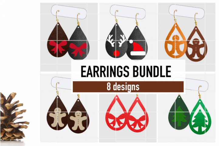 Christmas Earrings Bundle Svg / Leather / Faux / Wood / Cut