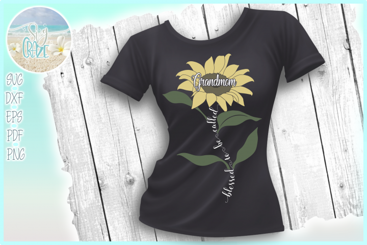 Blessed To Be Called Grandmom Quote with Sunflower SVG