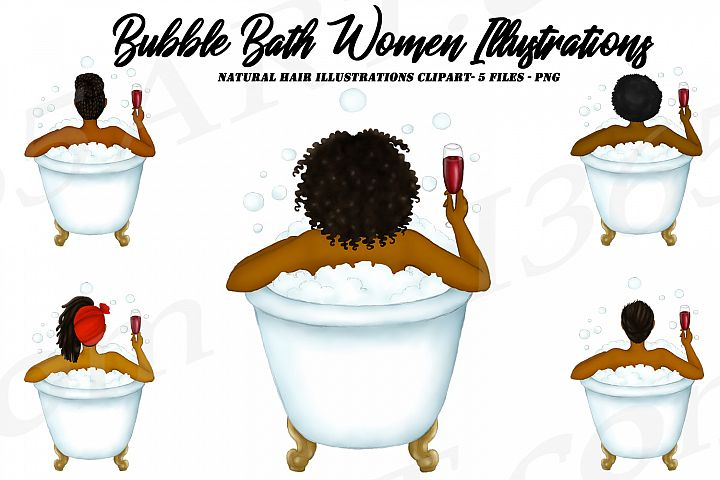 Woman in Bath Tub Wine African American Natural Hair Clipart