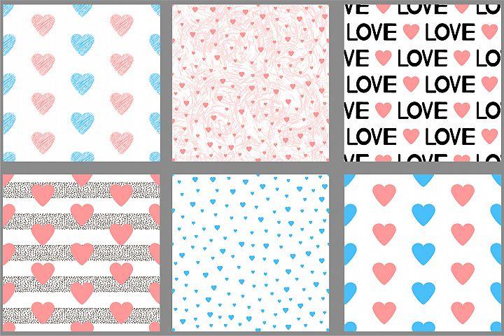 Hearts. Digital paper. SVG, Ai, EPS 10, PNG, JPEG