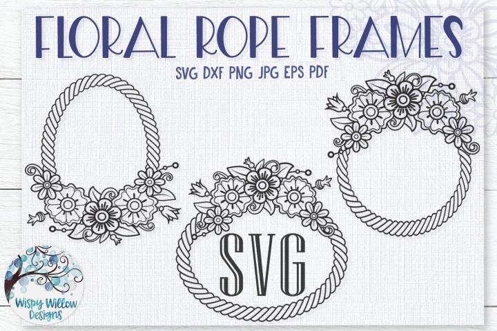 Floral Rope Frames SVG Bundle | Monogram Frame SVG Bundle