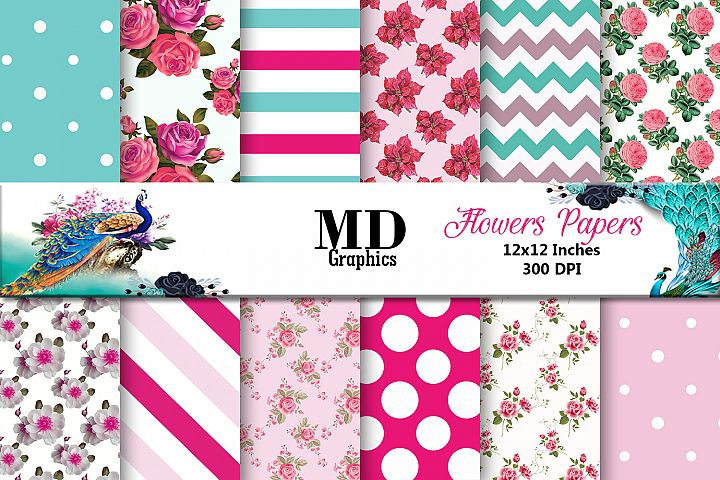 Flowers Papers, Flowers Patterned, Digital Scrapbook Papers