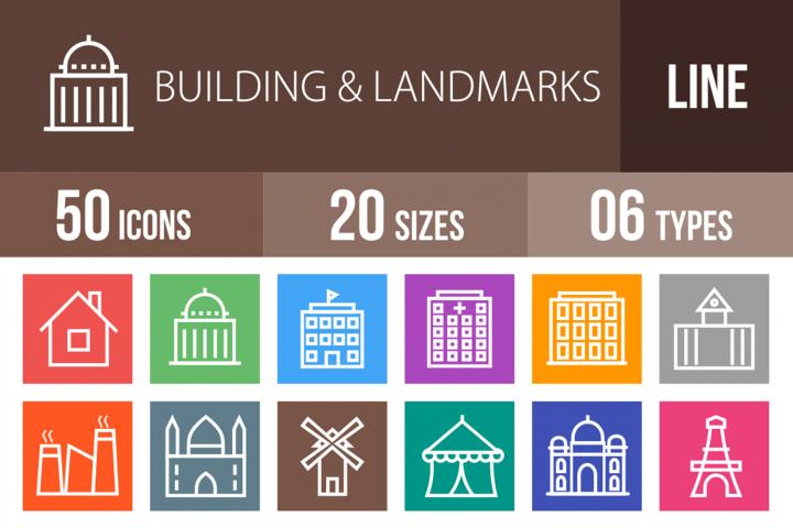 50 Buildings & Landmarks Line Multicolor B/G Icons