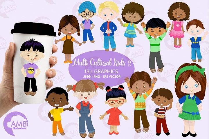 Multi-cultural kids series 2, clipart, graphics and illustrations AMB-2317