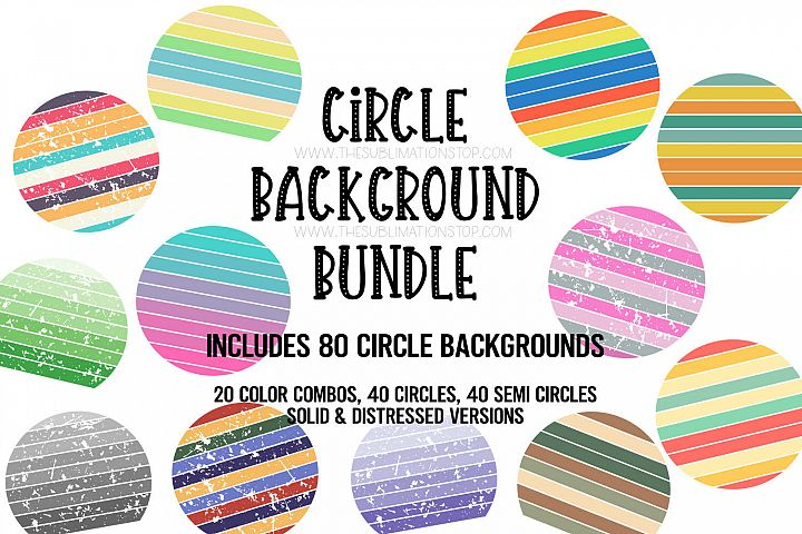 Circle Backsplash Frames Bundle for Sublimation - 80 PNG Des