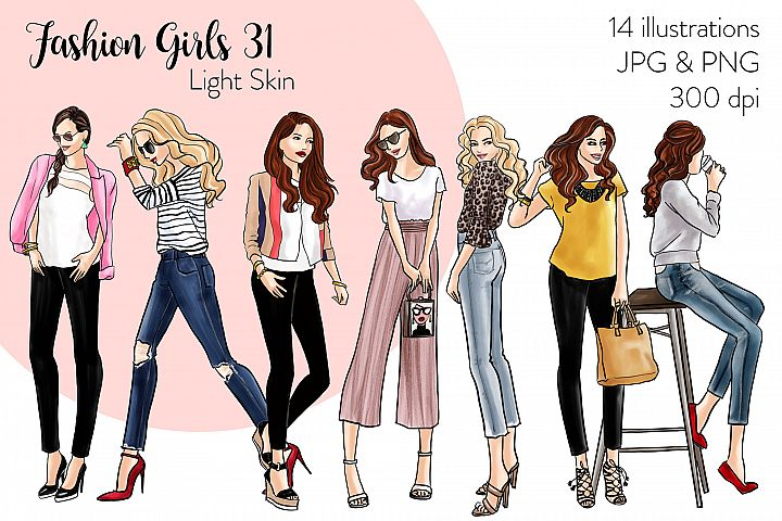 Fashion illustration clipart - Fashion Girls 31 - Light Skin