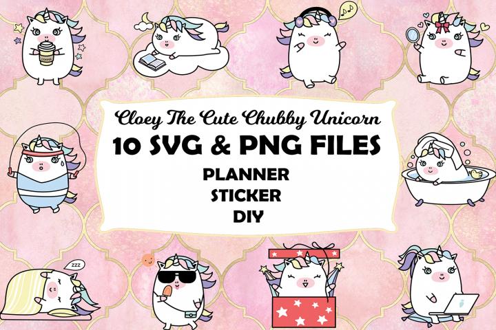 Unicorn Bundle SVG & PNG - 10 Kawaii Cute Unicorn Bundle
