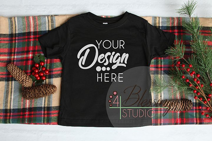 Christmas Kids Shirt Mockup Black Toddler Childrens Flat Lay