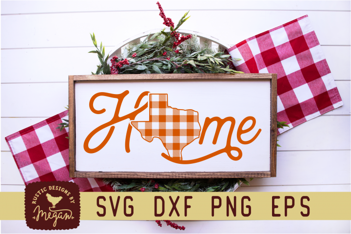 Texas Buffalo Plaid State Home Script Christmas SVG
