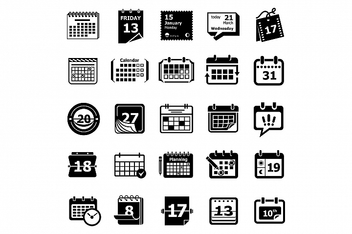 Calendar schedule planner icons set, simple style