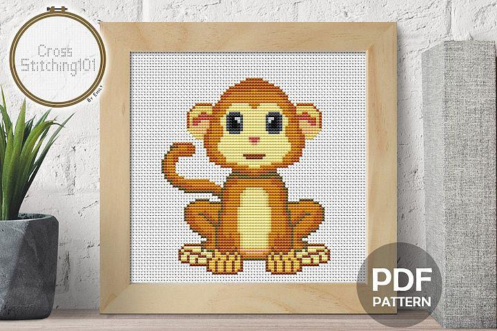 Cartoon Cute Monkey Cross Stitch Pattern - Instant Download