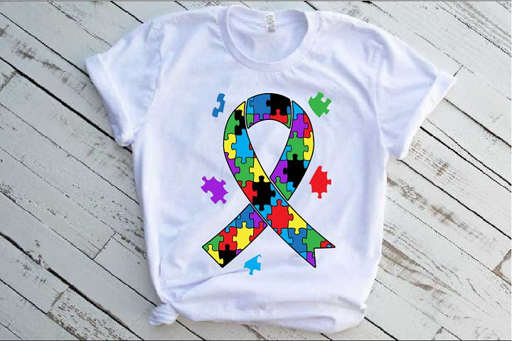 Ribbon Puzzle Autism Awareness SVG Awareness love hope 1342s