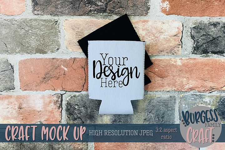 Grey can holder & brick wall Craft mock up |High Res JPEG