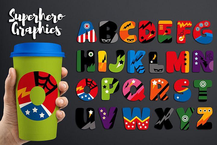 Alphabet Superhero clip art graphic illustrations