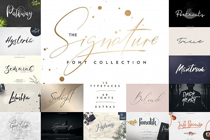 Signature font collection 15in1