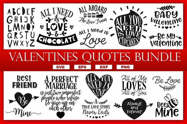 VALENTINES QUOTES & SAYINGS SVG BUNDLE