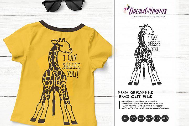 I Can See You | Giraffe SVG | Funny Giraffe Illustration