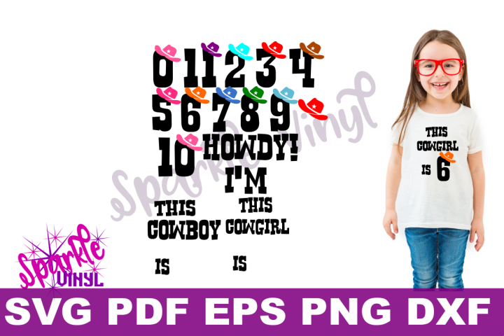 SVG Cowboy Cowgirl Birthday Party Age Numbers svg cut files for cricut or silhouette, Use Png files to create a printable, Western Numbers