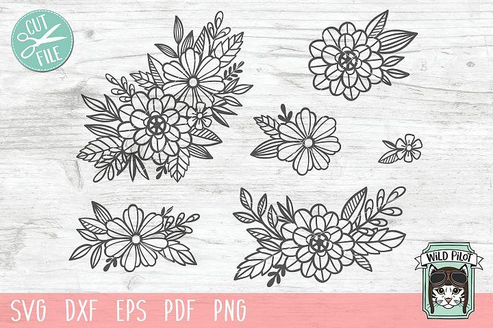 Flowers SVG file, Floral cut file, Flower Accent, Bundle