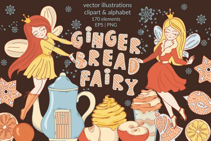 GINGERBREAD FAIRY Large Merry Christmas Cartoon Vector Set