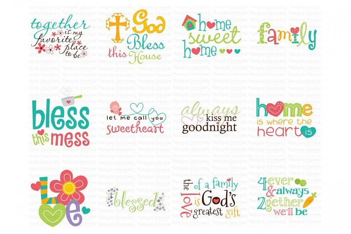 Home Sentiments Bundle - Clipart and SVG - 12 Designs