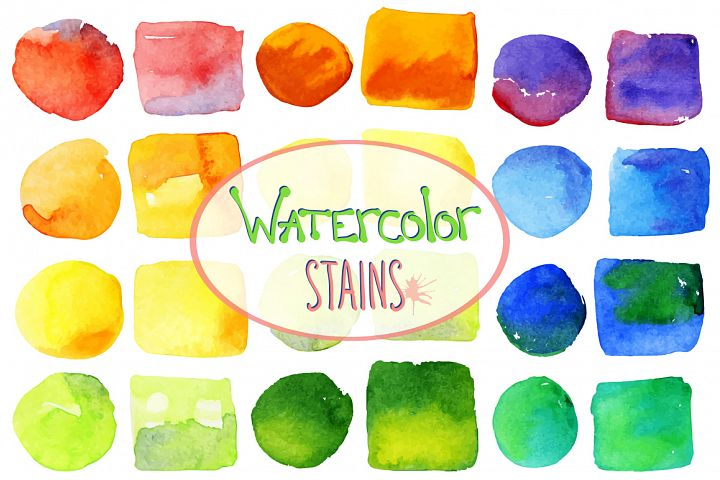 Vector bright watercolor stains example 1
