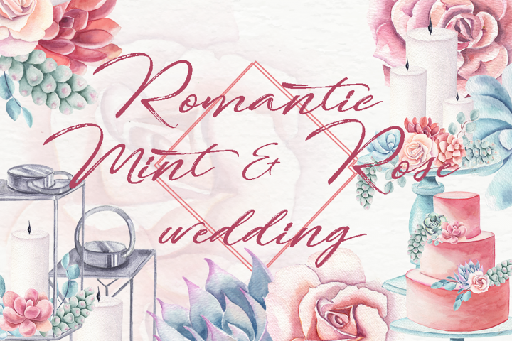 Romantic mint and roses wedding