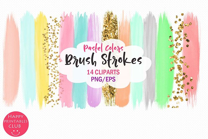 Pastel Colors Brush Strokes- Pastel Brush Strokes Clipart