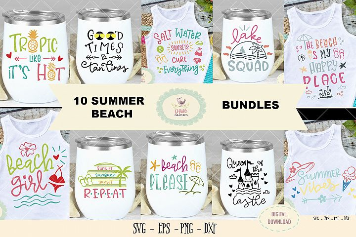 10 Summer beach bundles SVG cut file beach quote clipart svg