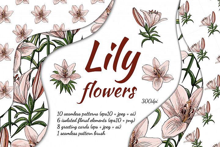 Design with lily flowers. Seamless patterns and postcards.